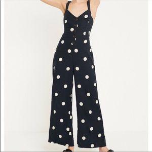 Japna blue and white polka dot jumpsuit